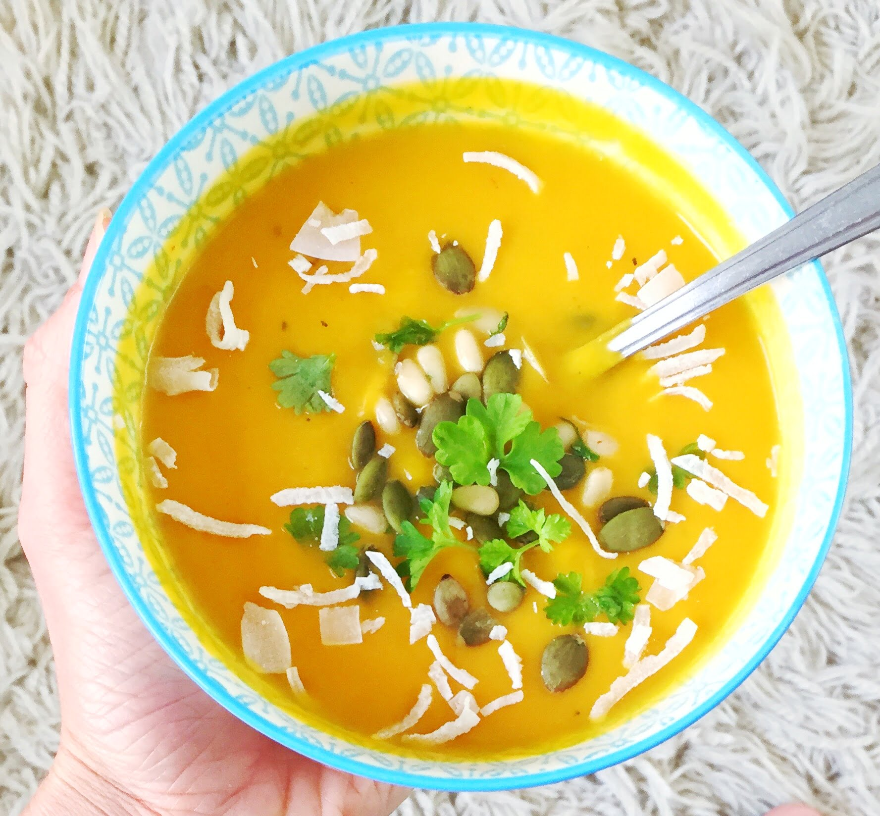 Creamy Pumpkin Soup with a Thai Coconut Twist