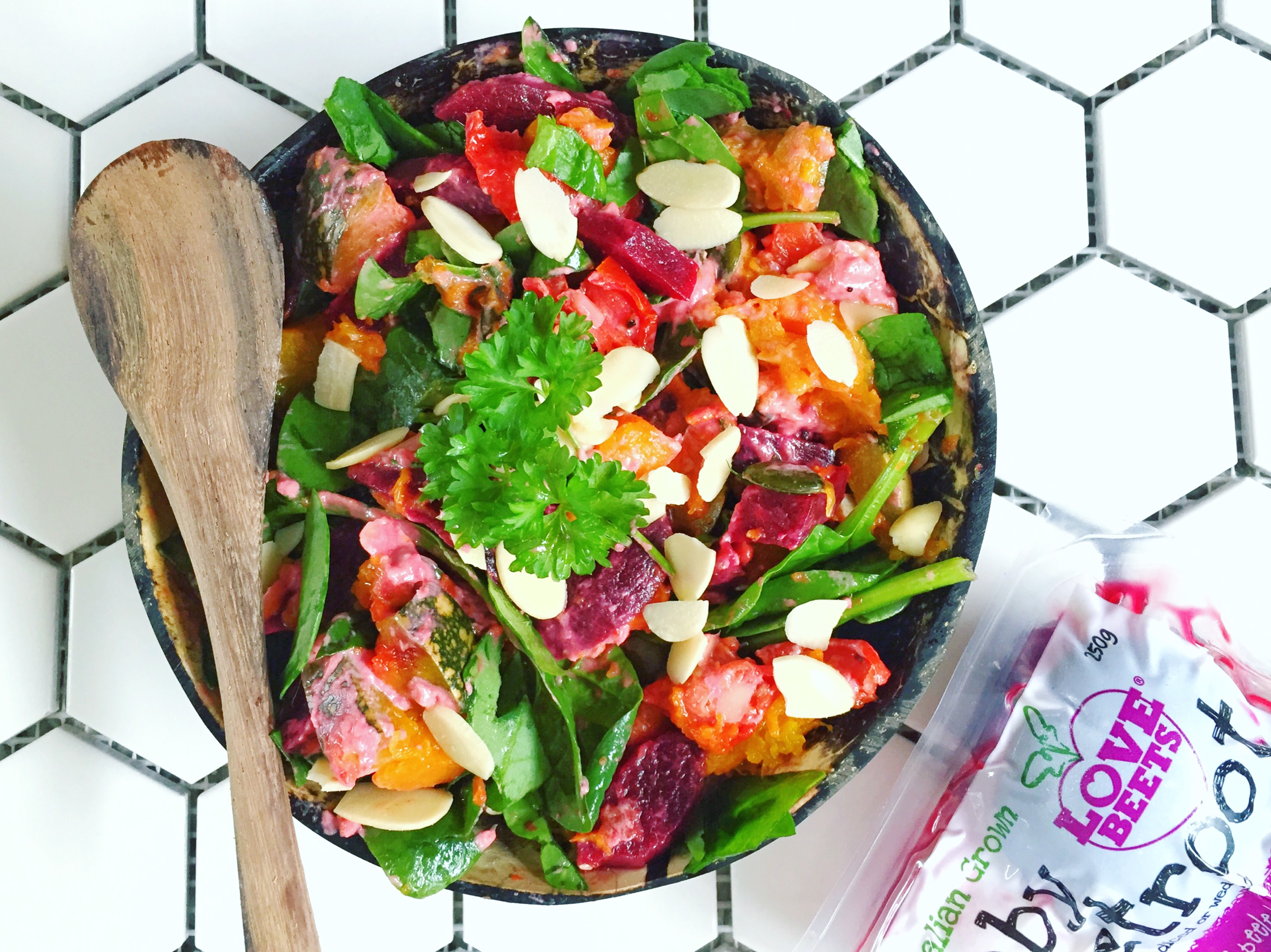 Summer Veggie Salad with Creamy Beetroot Dressing