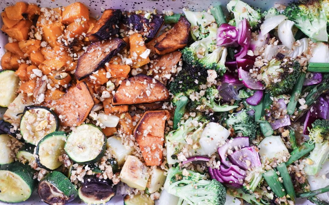 Roasted Veggies with Crushed Nut Topping