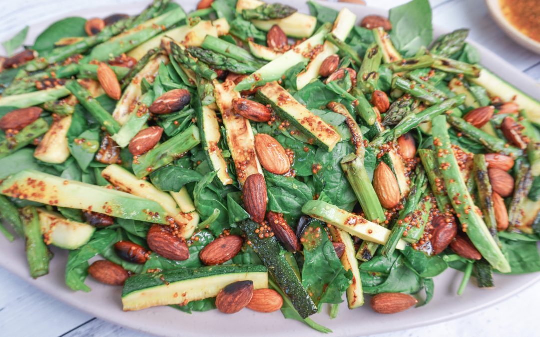 Mixed Green Salad with Toasted Almonds & Honey Mustard Dressing