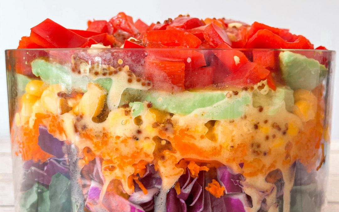 Layered Summer Salad with Mānuka Honey Mustard Dressing