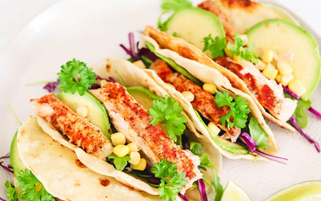 Avocado and Lime Salmon Tacos